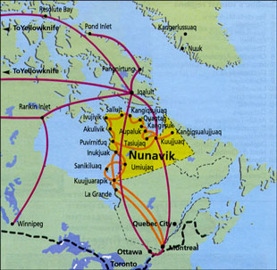 Map of First Air and Air Inuit Flights - Click for a larger version